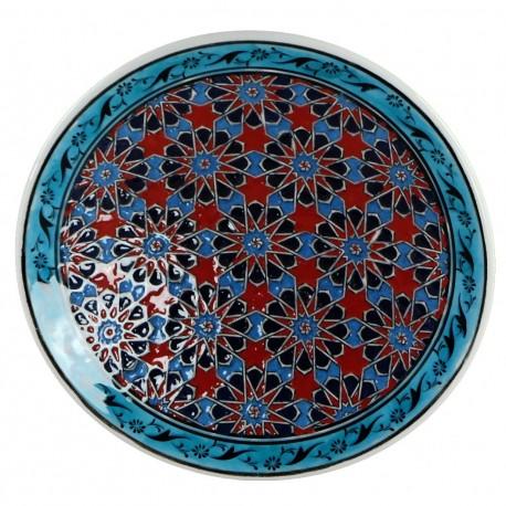 Assiette orientale ottomane Seldjouk Rouge 18cm avec frise et motifs géométriques (céramique de style Iznik)