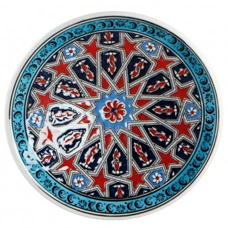 Assiette orientale ottomane Seljouk Rouge 18cm avec motifs géométriques (céramique de style Iznik)