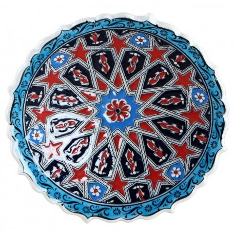 Assiette ethnique orientale Melis Rouge et Bleue 18cm à bords chantournés et motifs géométriques