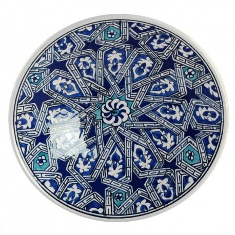 Vaisselle orientale, assiette en faïence Melis bleue 18cm au décor géométrique