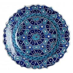 Assiette Seldjouk bleue 18cm à bords chantournés