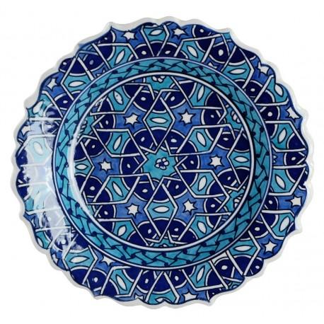 Assiette orientale ottomane Seldjouk Bleue 18cm à bords chantournés (style Iznik)