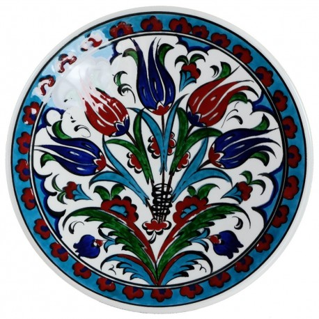 Assiette en faïence ottomane d'Iznik Ceylan 18cm décorée de fleurs