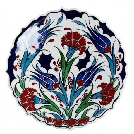 Assiette décorée de fleurs Ceylan 18cm, céramique artisanale d'Iznik (pièces uniques)