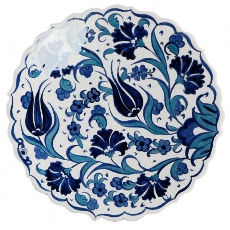 Assiette fleurie Necla 18cm à bords chantournés en céramique d'Iznik