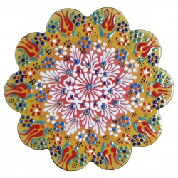 Dessous de plat oriental ottoman jaune Kuzey avec motifs floraux et géométriques (style Céramique en Relief)