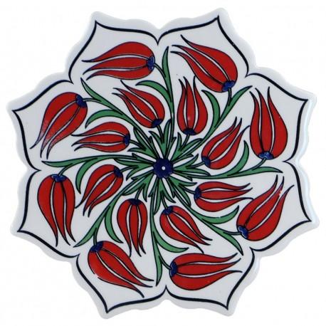 Dessous-de-plat en céramique Lalé décoré de tulipes pour décoration bohème