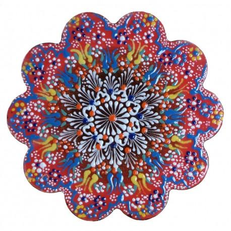 Dessous de plat rouge Kuzey Rouge, céramique orientale turque décorée de motifs floraux