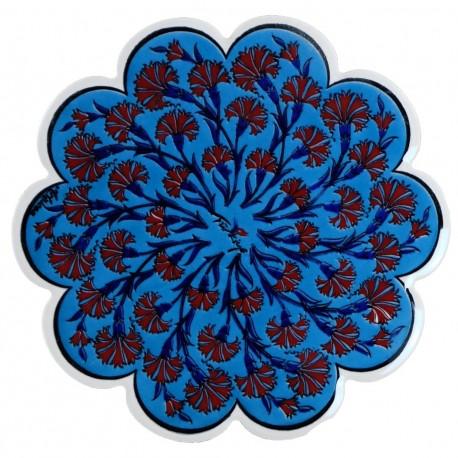 Dessous-de-plat bleu Esori avec tulipes ; céramique orientale ottomane de style Iznik
