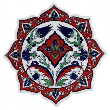 Dessous-de-plat décoratif Ceylan en faïence orientale avec fleurs (style Iznik)