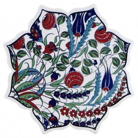 Dessous-de-plat en céramique turque Ferit avec fleurs (poterie de style oriental)
