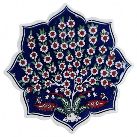 Dessous-de-plat au décor ottoman Vichné avec prunus (céramique de style Iznik)