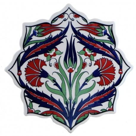 Dessous-de-plat oriental ottoman Zeki avec fleurs (céramique de syle Iznik Classic)