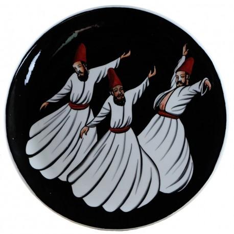 Plat ottoman Derviche 30cm en céramique artisanale décoré de derviches tourneurs