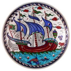 Assiette bateau déco Kalyon 30cm, céramique Iznik