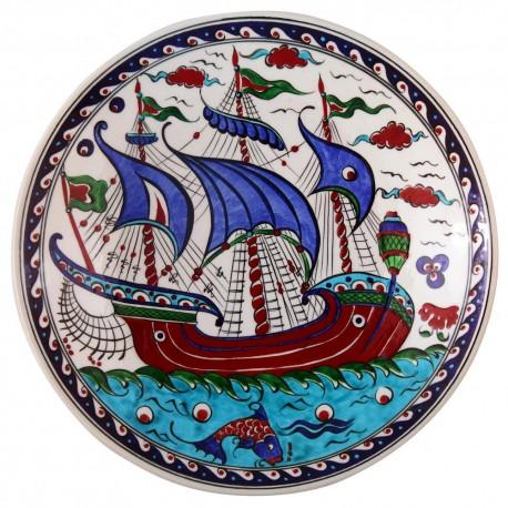 Plat oriental ottoman Kalyon 30cm avec bateau (style Iznik)