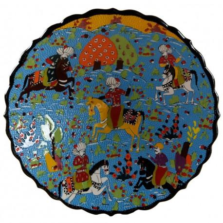 Assiette de collection en céramique Avla bleu 30cm avec nobles en partie de chasse