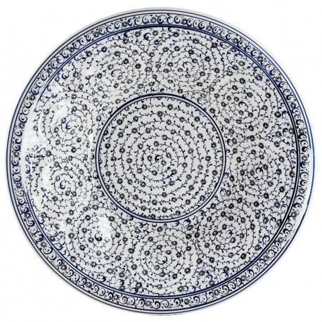 Plat corbelle à fruit en céramique d'Iznik Hava 30cm à marli bombé et spirales
