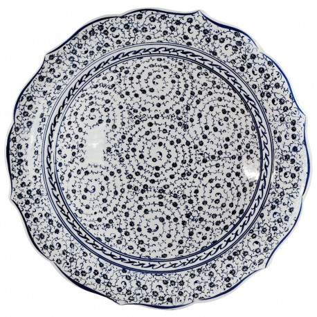 Plat oriental décoratif Hava 30cm à bords chantournés et spirales (céramique de style Iznik)