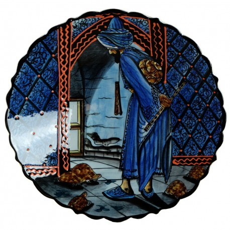 Plat en céramique d'artisanat d'art Kaplum bleu 30cm avec personnage et tortue