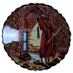 Céramique d'art, plat Kaplum Brun 30cm décoré d'un personnage dresseur de tortue