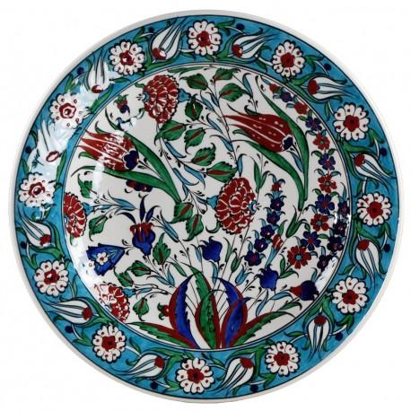 Plat en faïence ottomane Iznik Ceylan 30cm, décorée de motifs fleuris