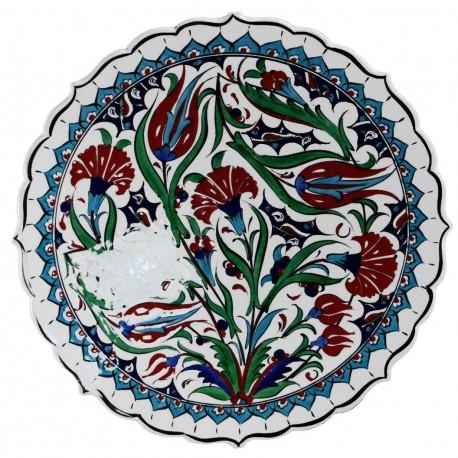 Plat d'art Ceylan 30cm à bords chantournés, reproduction des céramiques d'Iznik