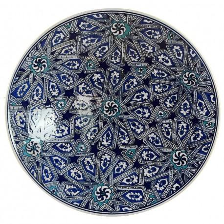 Vaissellet orientale, assiette géométrique Melis bleue 30cm, motifs orientaux