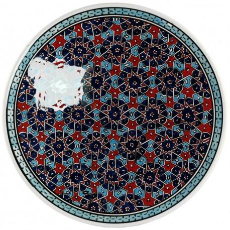 Plat oriental ottoman Seldjouk Rouge 30cm, décor géométrique