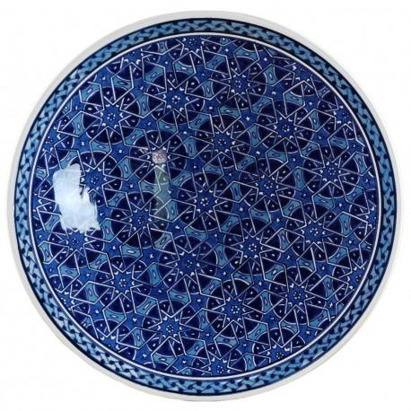 Plat bleu oriental Seldjouk Bleu 30cm en céramique décoré de motifs géométriques