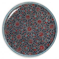 Grand plat oriental Melis Rouge 40cm avec motifs géométriques