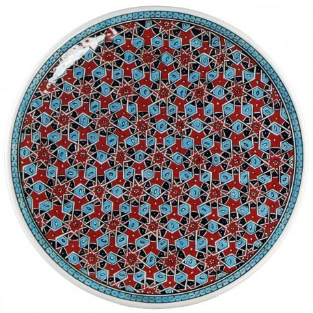 Plat oriental rouge Seldjouk40cm avec décor marocain géométrique