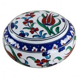 Boîte artisanale Ceylan 12cm en céramique fleurie