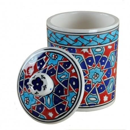 Pot à épices oriental Seldjouk 10cm, décor géométrique bleu et rouge