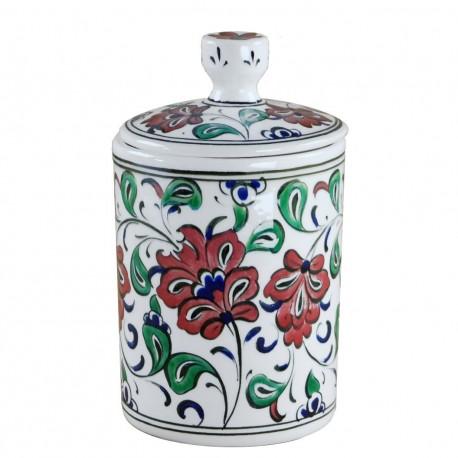 Drageoir artisanal en céramique Harkan 10cm, décoré de fleurs