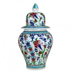 Idée cadeau original : Jarre orientale ottomane Ceylan 30cm avec motifs floraux (céramique de style Iznic Classic).