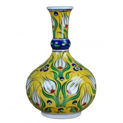 Soliflore jaune, vase décoratif Derya 20cm