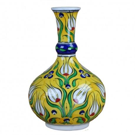 Soliflore jaune Derya 20cm en porcelaine d'Iznik décoré de tulipes