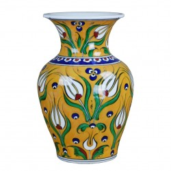 Vase original jaune Derya 20cm, porcelaine orientale