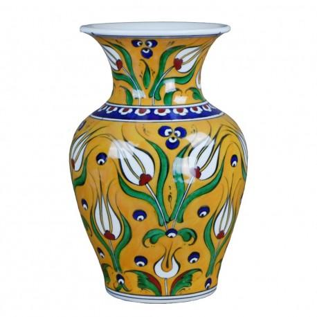 Vase rtisanal, vase jaune Derya 20cm en porcelaine orientale