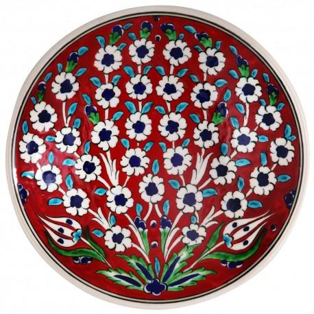 Assiette artisanale rouge Vichné 18cm, décorée d'un arbre en fleurs