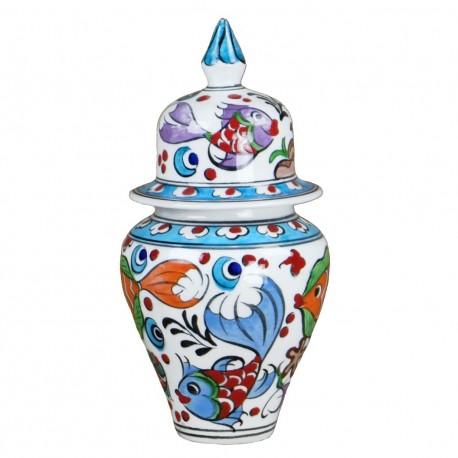 Cadeau déco très original, boite artisanale Balik 15cm, décorée de poissons