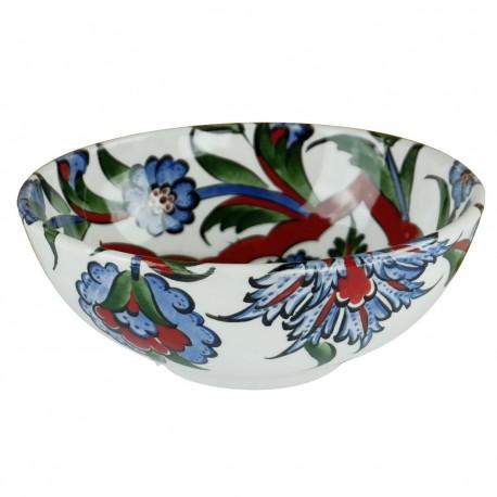 Artisanat turc, Bol décoré de fleurs Elona 16cm, style Iznik