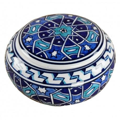 Boîte bleue orientale Seldjouk 12cm, céramique motifs géométriques