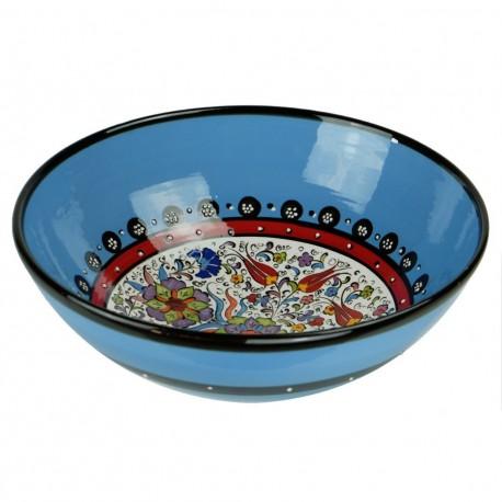 Vaisselle ethnique, bol bleu Timur 25cm décoré de fleurs