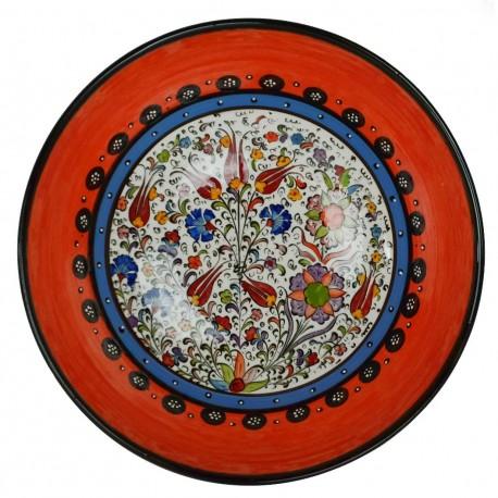 Vaisselle marocaine et poterie turque, Bol orange Timur 25cm, décoré de fleurs