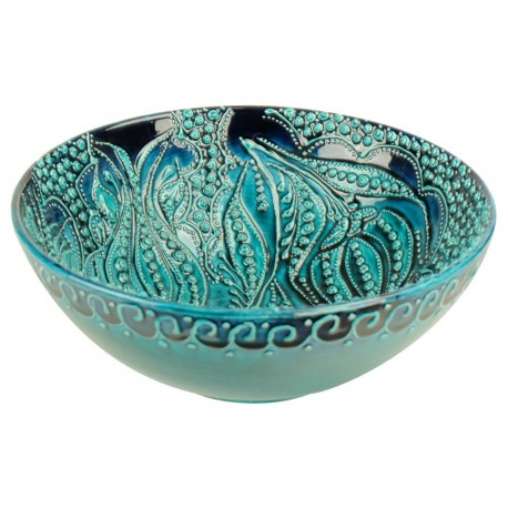 Bol turquoise Devrim 20cm en faïence turque en relief