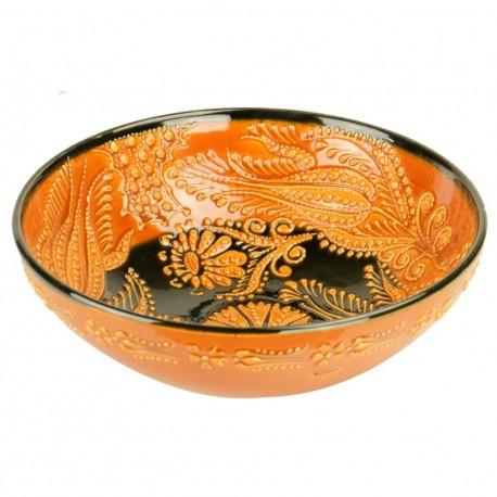Bol original orange Dira Orange 20cm, en faïence orientale