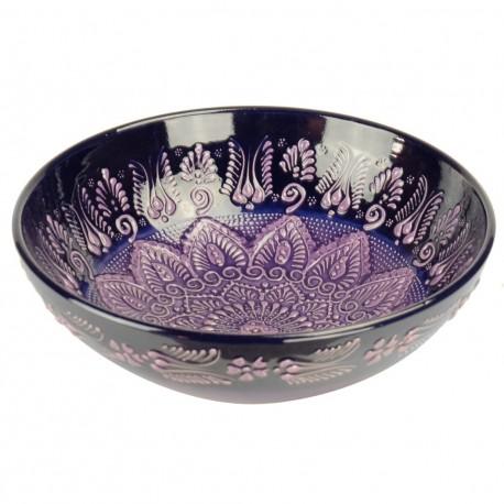Bol violet oriental Dira Violet 25cm, style Firuze