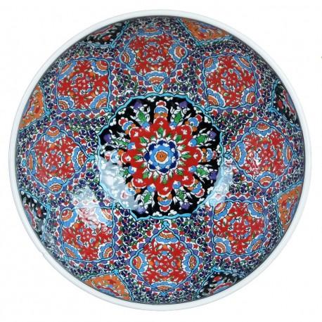 Bol artisanal céramique d'art Aysel 25cm, style ottoman Iznik